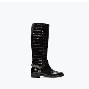 Zara Croc Embossed Leather boot